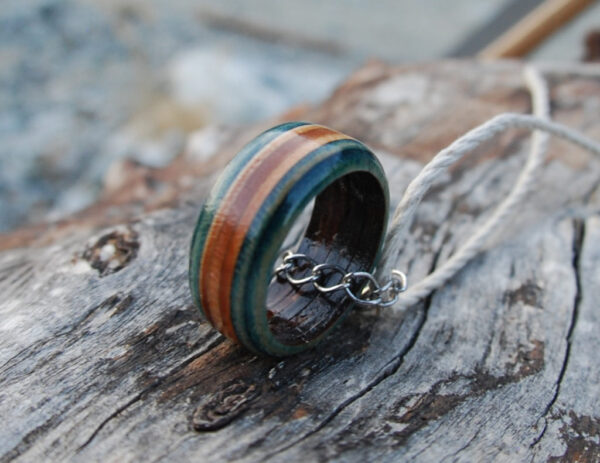 hemp necklace, skateboard, ring, recycled, earthy