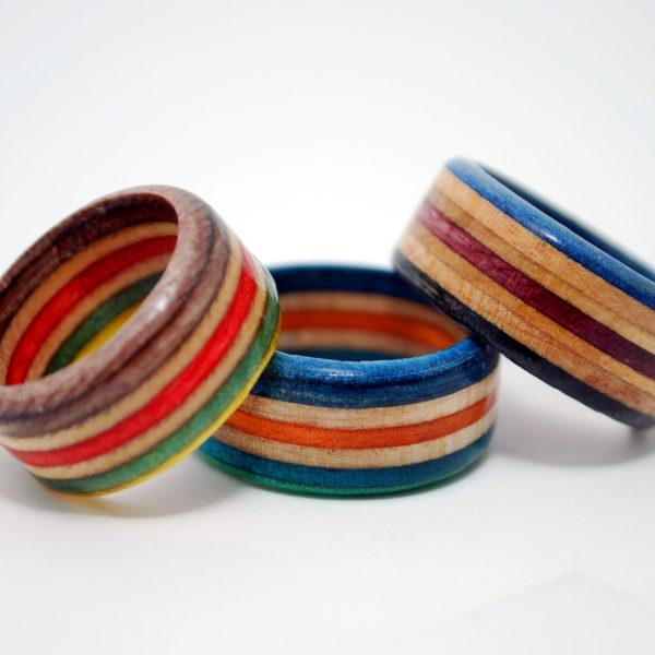 skateboard rings, recycled, skate, jewelry, decks