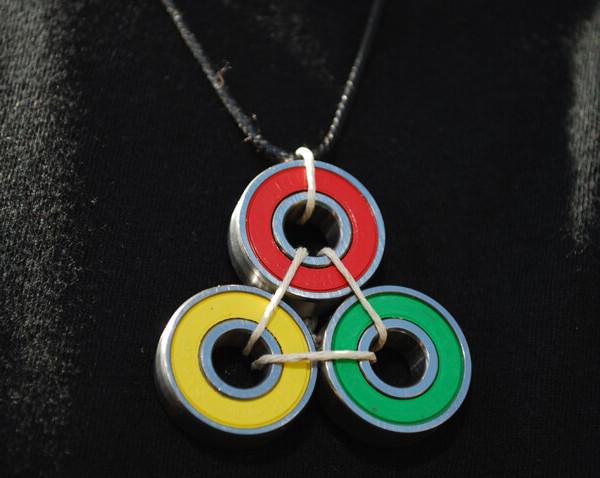 rasta bearing necklace, skateboard, gift, easy