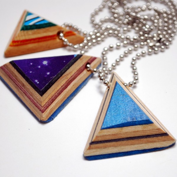 Recycled Skateboard Triangle Pendant Necklace