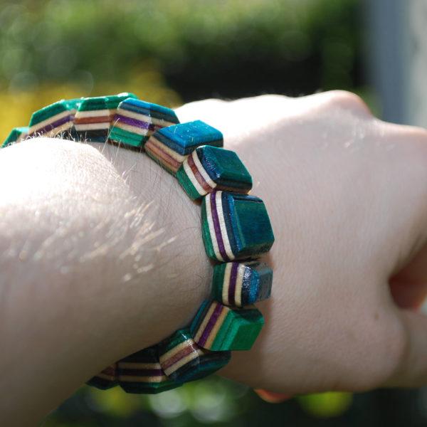 recycled, skateboard, rings, bracelet, jewelry
